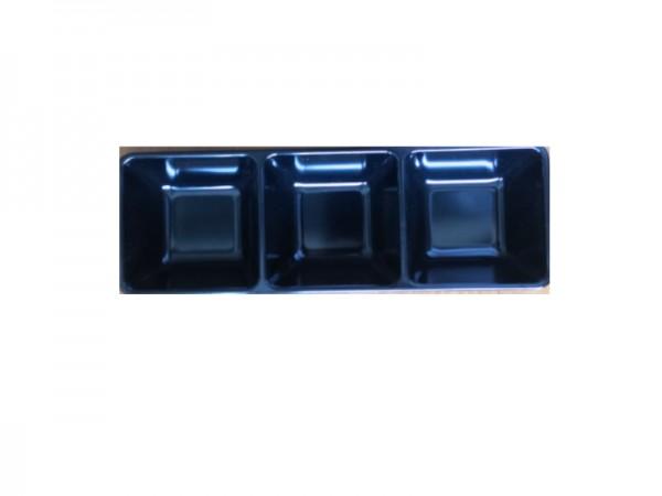 Melamin Diamond Triple Dipper in schwarz 26x 9x 4 cm