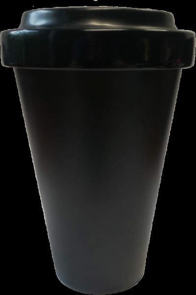 Melamin Coffee to Go Becher schwarz, Schraubverschluss